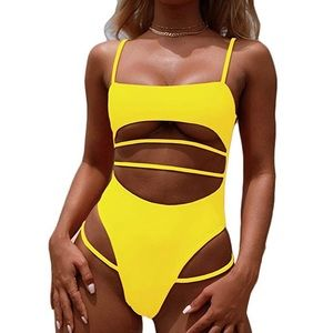 Sexy yellow one piece bathing suit